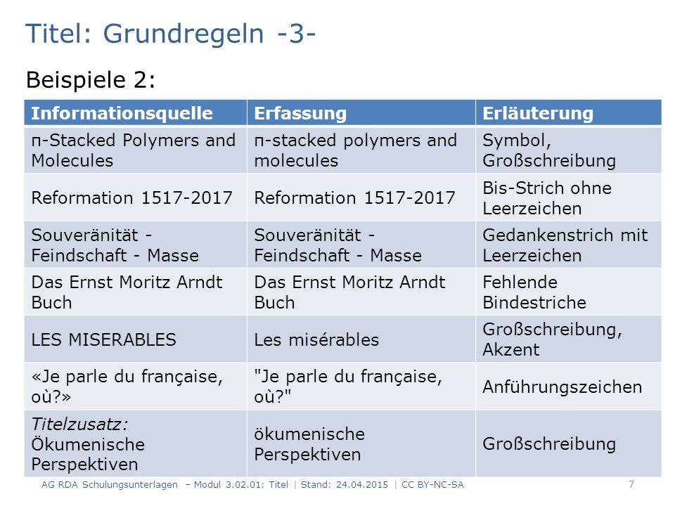 Titel: Grundregeln -3- AG RDA Schulungsunterlagen – Modul 3.02.01: Titel | Stand: 24.04.2015 | CC BY-NC-SA 7 InformationsquelleErfassungErläuterung π-