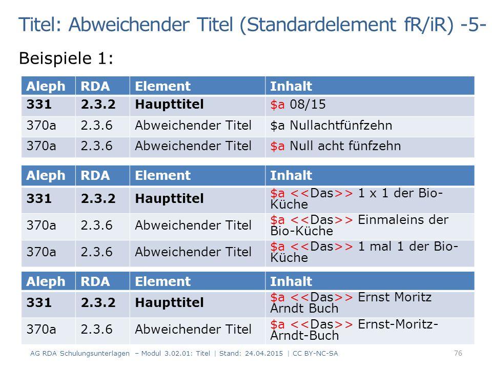 Titel: Abweichender Titel (Standardelement fR/iR) -5- Beispiele 1: AG RDA Schulungsunterlagen – Modul 3.02.01: Titel | Stand: 24.04.2015 | CC BY-NC-SA