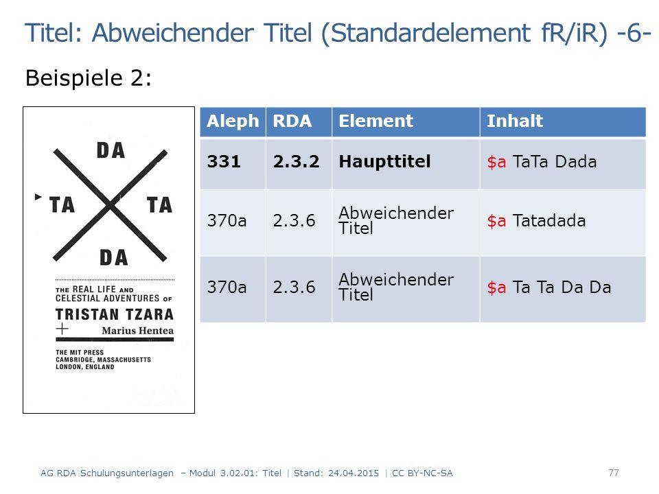 Titel: Abweichender Titel (Standardelement fR/iR) -6- Beispiele 2: AG RDA Schulungsunterlagen – Modul 3.02.01: Titel | Stand: 24.04.2015 | CC BY-NC-SA