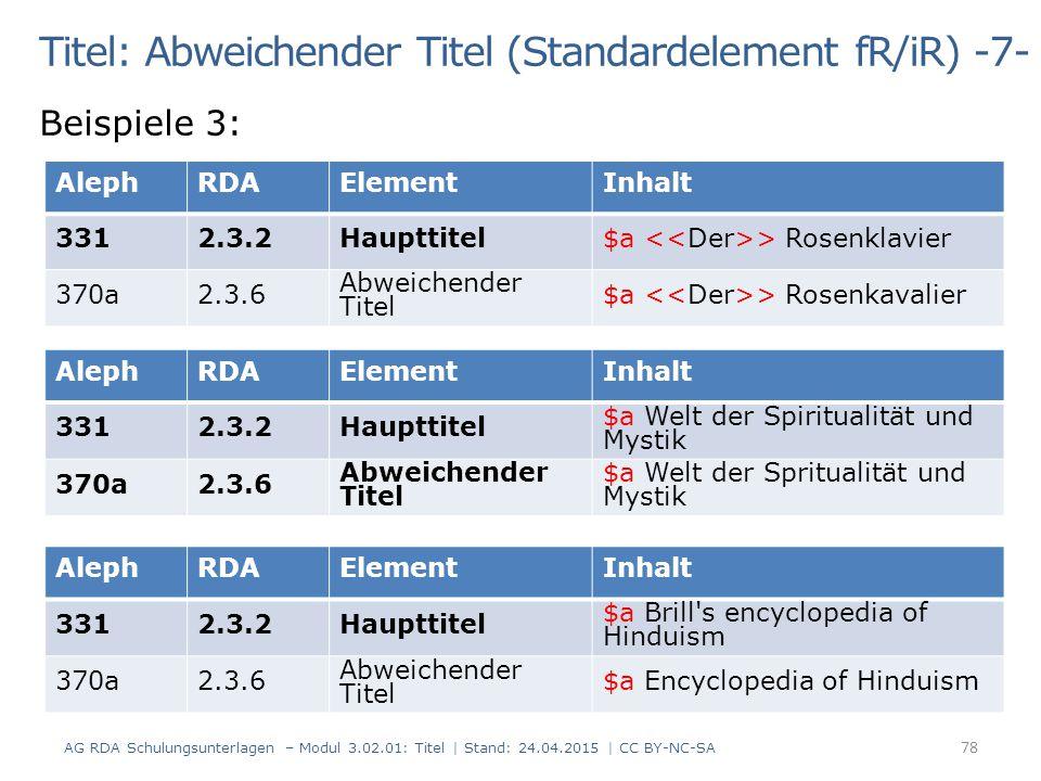 Titel: Abweichender Titel (Standardelement fR/iR) -7- Beispiele 3: AG RDA Schulungsunterlagen – Modul 3.02.01: Titel | Stand: 24.04.2015 | CC BY-NC-SA