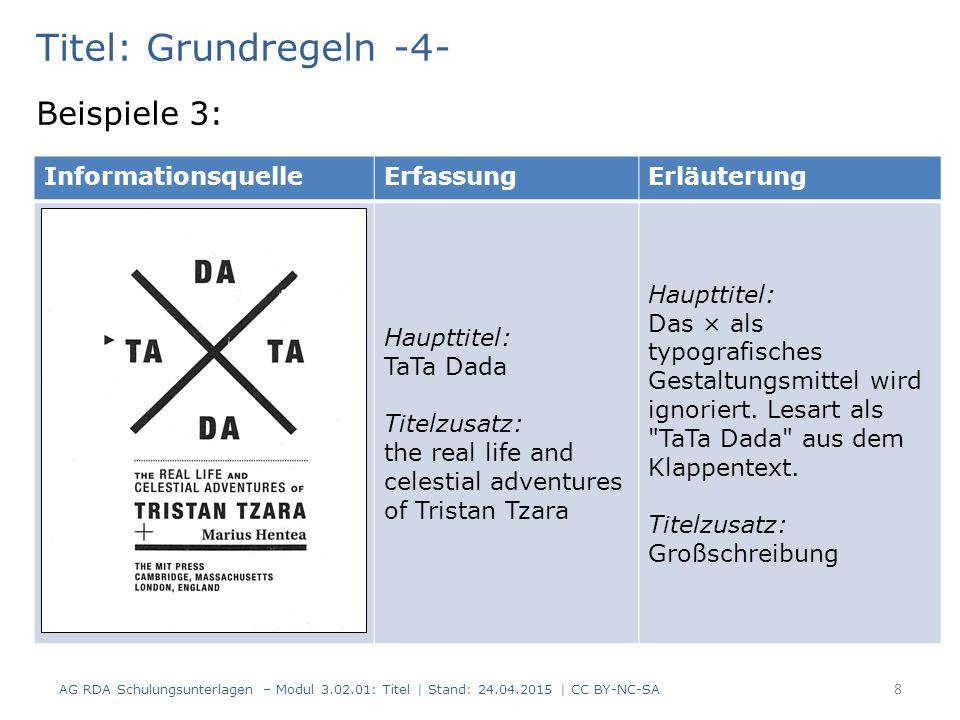 Titel: Grundregeln -4- Beispiele 3: AG RDA Schulungsunterlagen – Modul 3.02.01: Titel | Stand: 24.04.2015 | CC BY-NC-SA 8 InformationsquelleErfassungE