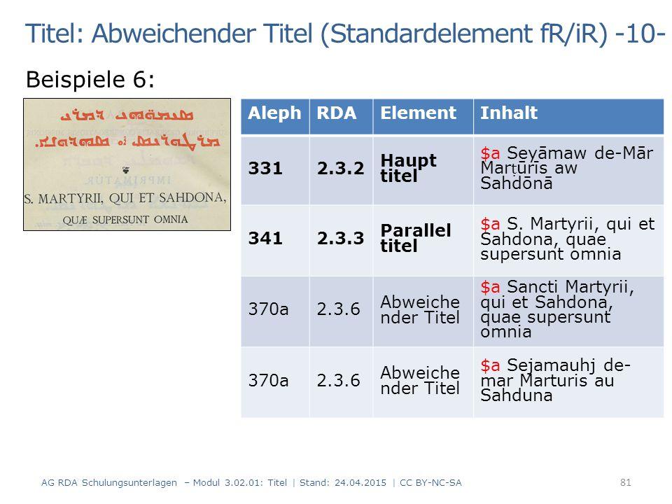 Titel: Abweichender Titel (Standardelement fR/iR) -10- Beispiele 6: AG RDA Schulungsunterlagen – Modul 3.02.01: Titel | Stand: 24.04.2015 | CC BY-NC-S