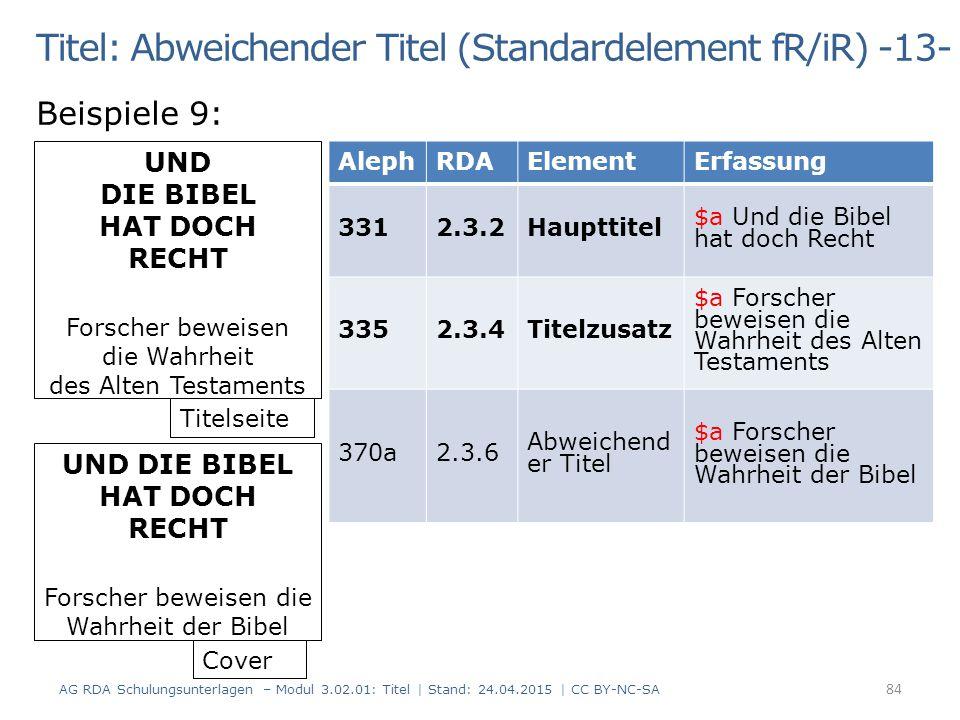 Titel: Abweichender Titel (Standardelement fR/iR) -13- Beispiele 9: AG RDA Schulungsunterlagen – Modul 3.02.01: Titel | Stand: 24.04.2015 | CC BY-NC-S