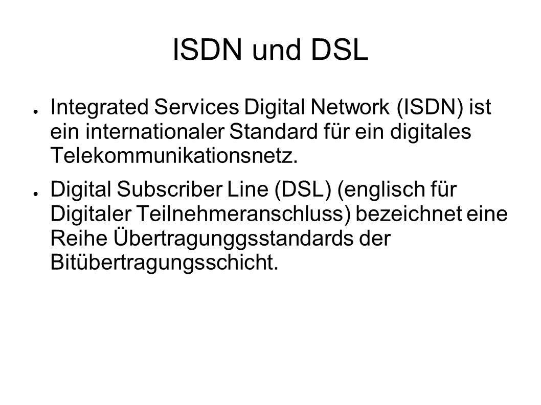 ISDN und DSL ● Integrated Services Digital Network (ISDN) ist ein internationaler Standard für ein digitales Telekommunikationsnetz. ● Digital Subscri