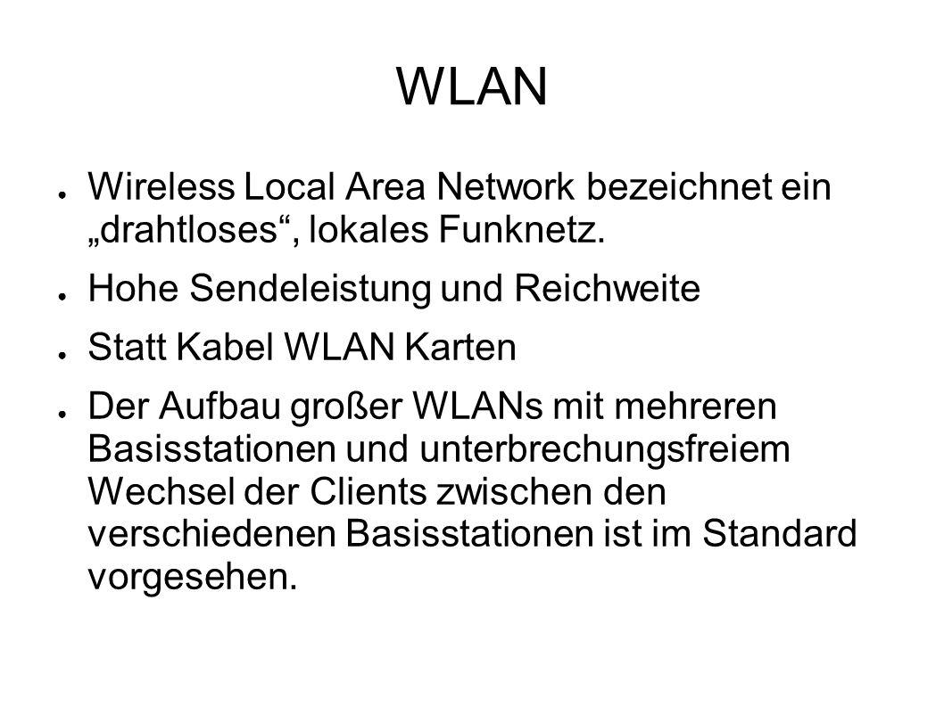 """WLAN ● Wireless Local Area Network bezeichnet ein """"drahtloses"""", lokales Funknetz. ● Hohe Sendeleistung und Reichweite ● Statt Kabel WLAN Karten ● Der"""