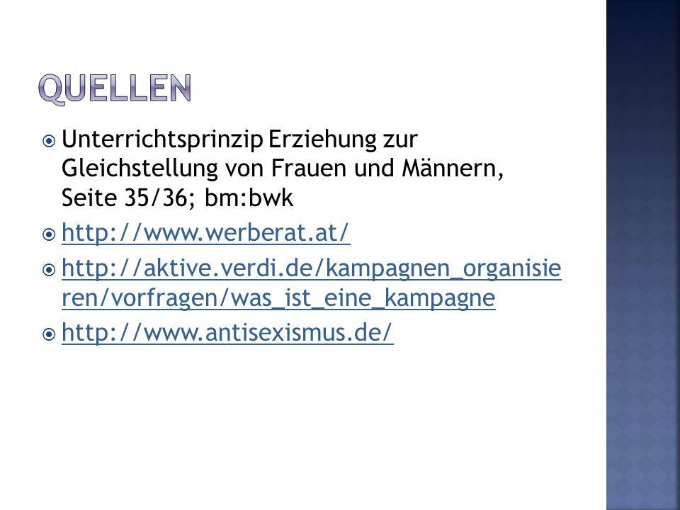  Unterrichtsprinzip Erziehung zur Gleichstellung von Frauen und Männern, Seite 35/36; bm:bwk  http://www.werberat.at/ http://www.werberat.at/  http