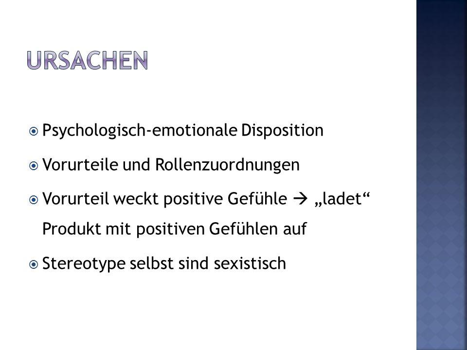 """ Psychologisch-emotionale Disposition  Vorurteile und Rollenzuordnungen  Vorurteil weckt positive Gefühle  """"ladet"""" Produkt mit positiven Gefühlen"""