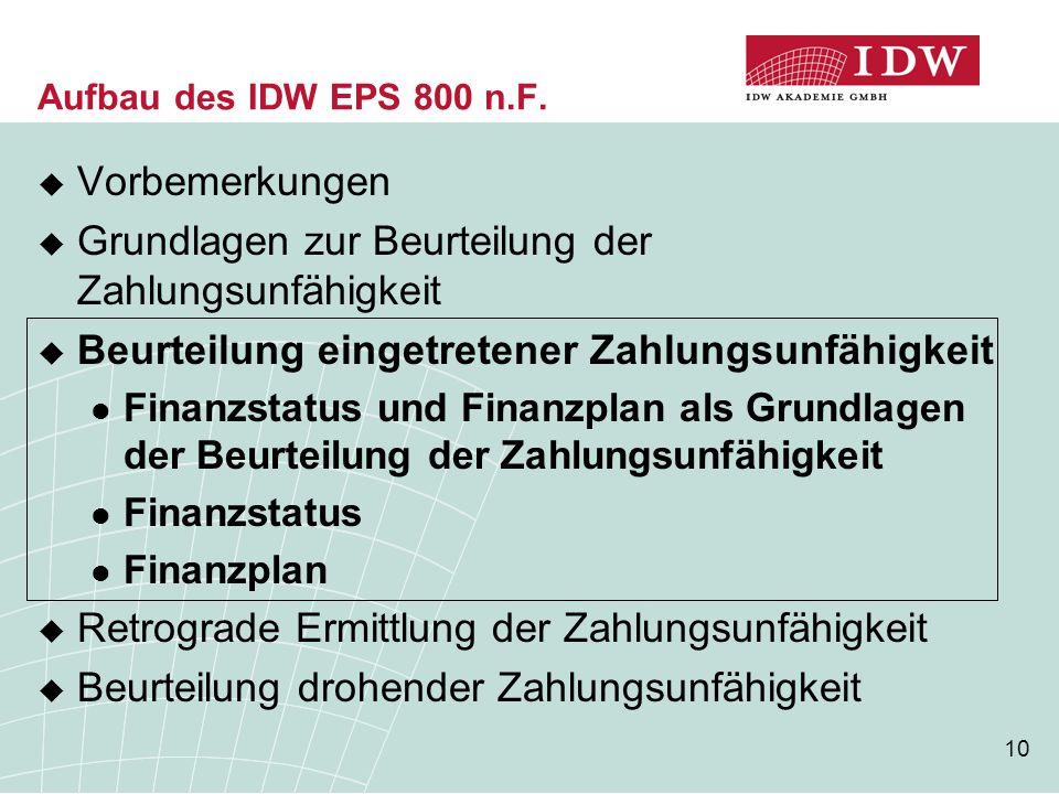 10 Aufbau des IDW EPS 800 n.F.  Vorbemerkungen  Grundlagen zur Beurteilung der Zahlungsunfähigkeit  Beurteilung eingetretener Zahlungsunfähigkeit F