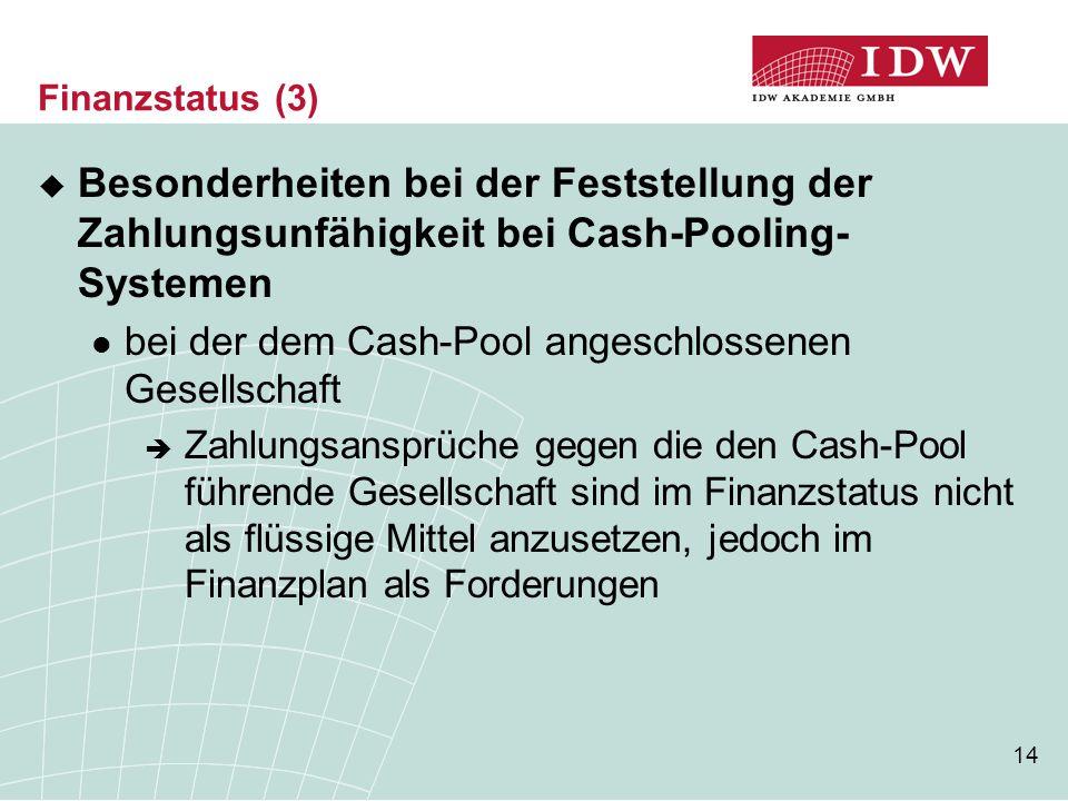 14 Finanzstatus (3)  Besonderheiten bei der Feststellung der Zahlungsunfähigkeit bei Cash-Pooling- Systemen bei der dem Cash-Pool angeschlossenen Gesellschaft  Zahlungsansprüche gegen die den Cash-Pool führende Gesellschaft sind im Finanzstatus nicht als flüssige Mittel anzusetzen, jedoch im Finanzplan als Forderungen