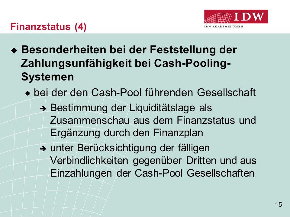 15 Finanzstatus (4)  Besonderheiten bei der Feststellung der Zahlungsunfähigkeit bei Cash-Pooling- Systemen bei der den Cash-Pool führenden Gesellschaft  Bestimmung der Liquiditätslage als Zusammenschau aus dem Finanzstatus und Ergänzung durch den Finanzplan  unter Berücksichtigung der fälligen Verbindlichkeiten gegenüber Dritten und aus Einzahlungen der Cash-Pool Gesellschaften