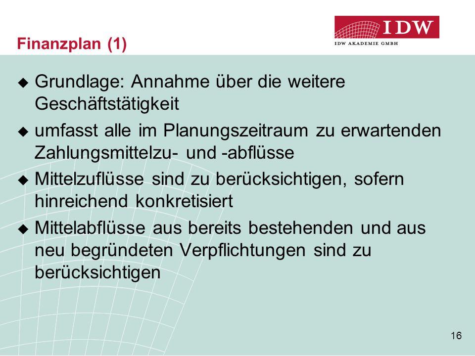 16 Finanzplan (1)  Grundlage: Annahme über die weitere Geschäftstätigkeit  umfasst alle im Planungszeitraum zu erwartenden Zahlungsmittelzu- und -ab