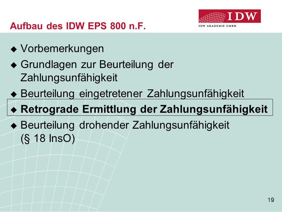 19 Aufbau des IDW EPS 800 n.F.  Vorbemerkungen  Grundlagen zur Beurteilung der Zahlungsunfähigkeit  Beurteilung eingetretener Zahlungsunfähigkeit 