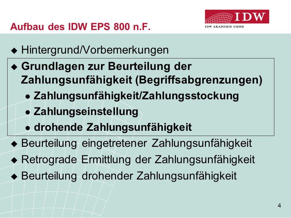 4 Aufbau des IDW EPS 800 n.F.  Hintergrund/Vorbemerkungen  Grundlagen zur Beurteilung der Zahlungsunfähigkeit (Begriffsabgrenzungen) Zahlungsunfähig