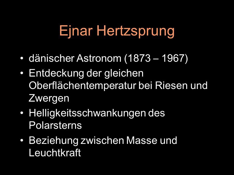Ejnar Hertzsprung dänischer Astronom (1873 – 1967) Entdeckung der gleichen Oberflächentemperatur bei Riesen und Zwergen Helligkeitsschwankungen des Po