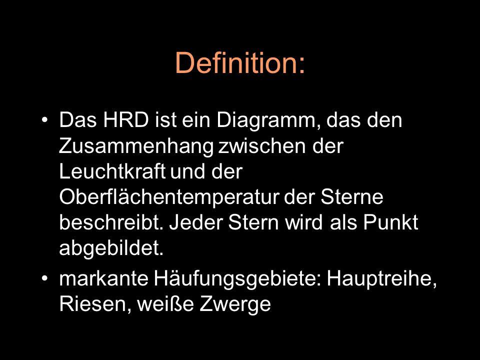 Definition: Das HRD ist ein Diagramm, das den Zusammenhang zwischen der Leuchtkraft und der Oberfl ä chentemperatur der Sterne beschreibt. Jeder Stern