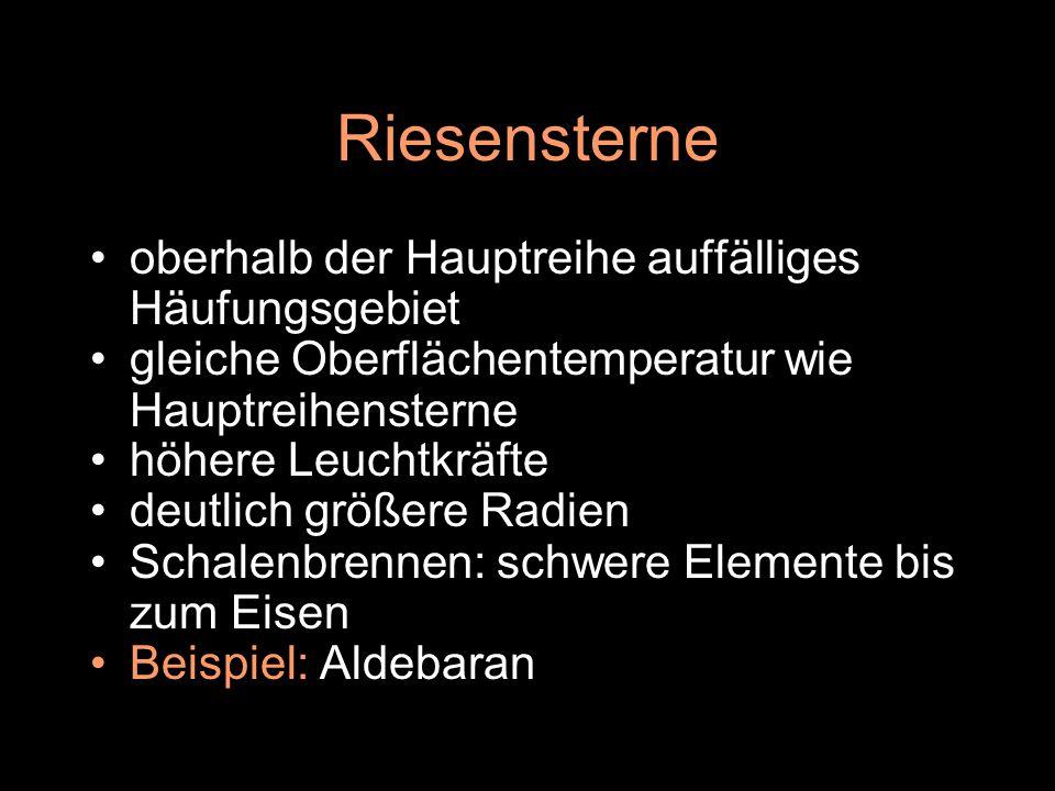 weiße Zwerge unterhalb der Hauptreihe bei gleicher Oberfl ä chentemperatur wie die Hauptreihensterne geringere Leuchtkr ä fte deutlich kleinere Radien (Erdradius) Endstadium massearmer Sterne keine Kernfusion, nur thermische Energie Beispiel: Sirius B im Sternbild Großer Hund
