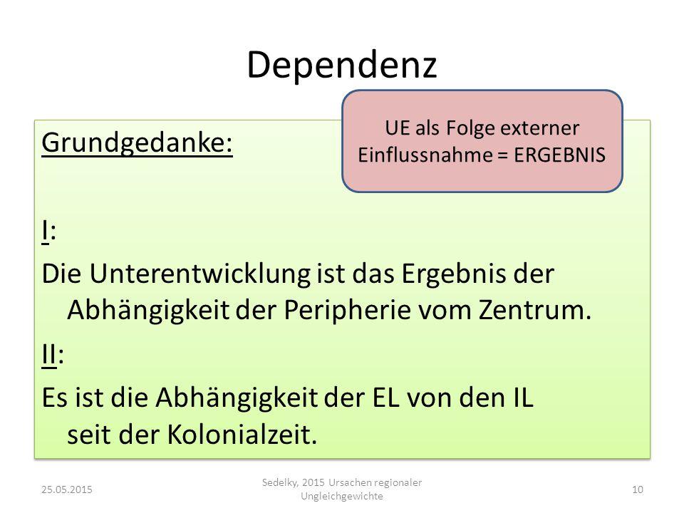 Dependenz Grundgedanke: I: Die Unterentwicklung ist das Ergebnis der Abhängigkeit der Peripherie vom Zentrum. II: Es ist die Abhängigkeit der EL von d