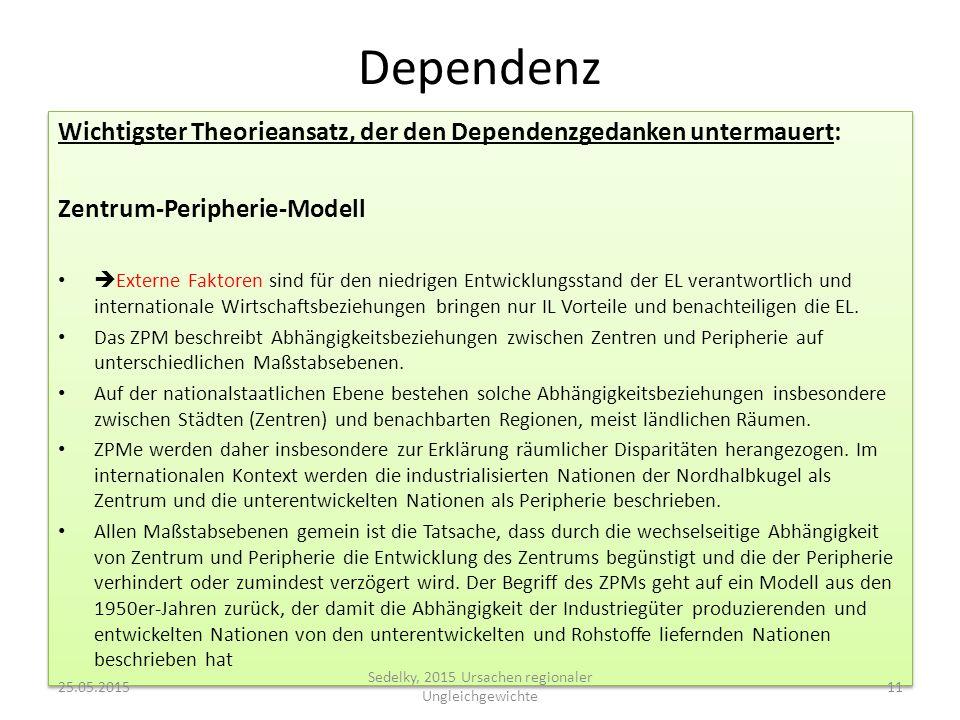 Dependenz Wichtigster Theorieansatz, der den Dependenzgedanken untermauert: Zentrum-Peripherie-Modell  Externe Faktoren sind für den niedrigen Entwic