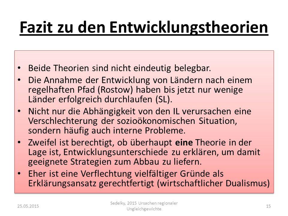 Fazit zu den Entwicklungstheorien Beide Theorien sind nicht eindeutig belegbar. Die Annahme der Entwicklung von Ländern nach einem regelhaften Pfad (R
