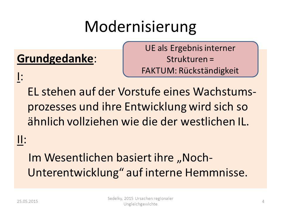 Modernisierung Grundgedanke: I: EL stehen auf der Vorstufe eines Wachstums- prozesses und ihre Entwicklung wird sich so ähnlich vollziehen wie die der