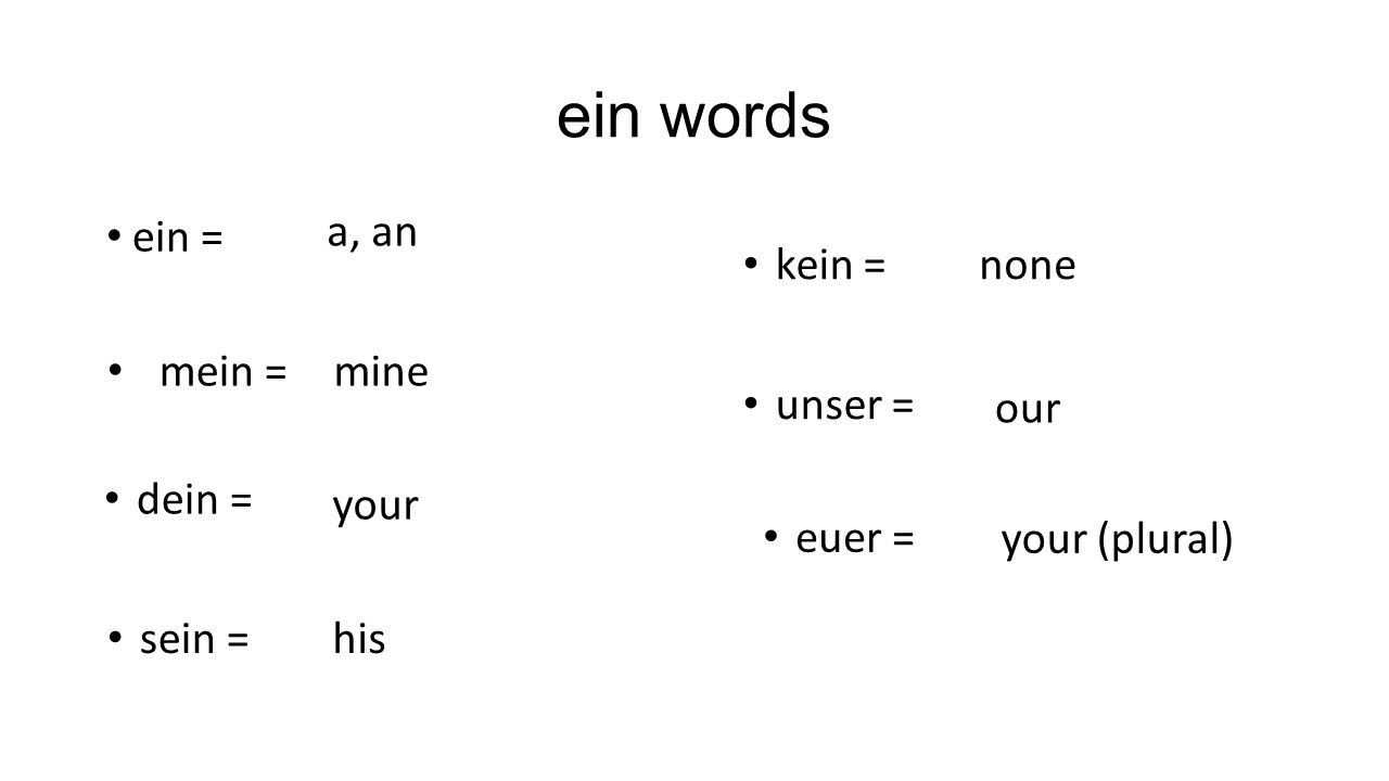 ein words ein = a, an mein =mine dein = your sein =his kein =none unser = our euer = your (plural)