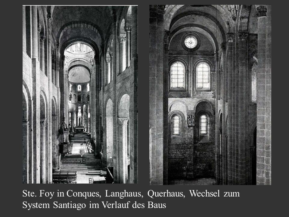 Ste. Foy in Conques, Langhaus, Querhaus, Wechsel zum System Santiago im Verlauf des Baus