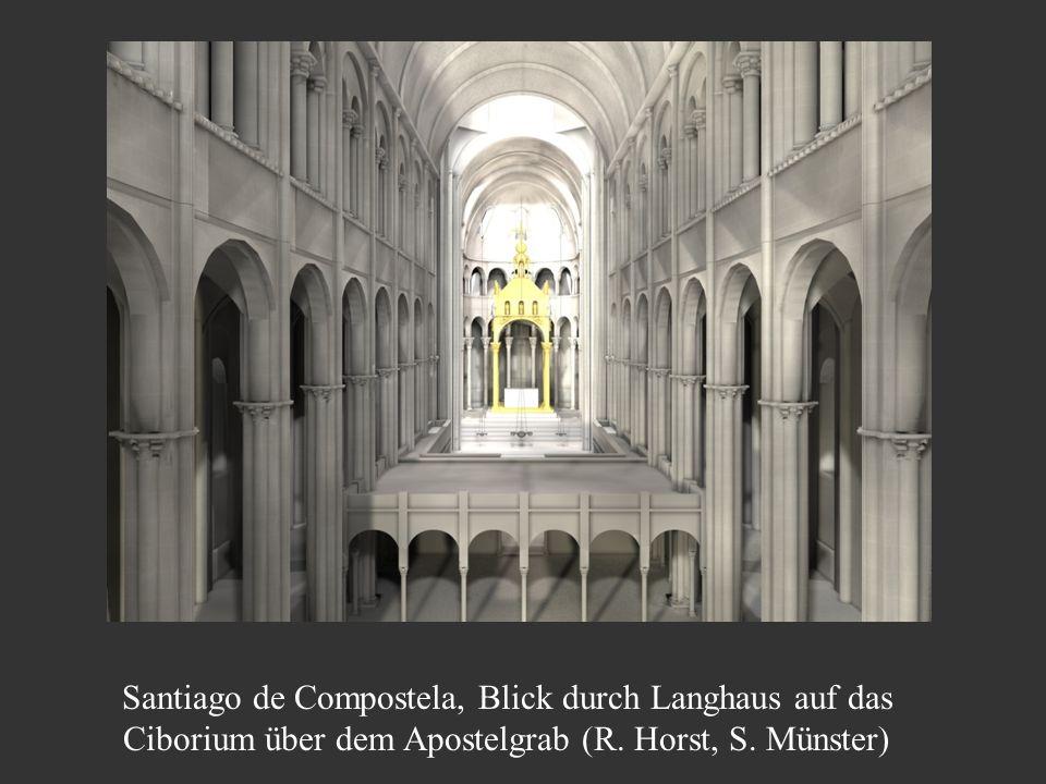 Santiago de Compostela, Blick durch Langhaus auf das Ciborium über dem Apostelgrab (R. Horst, S. Münster)