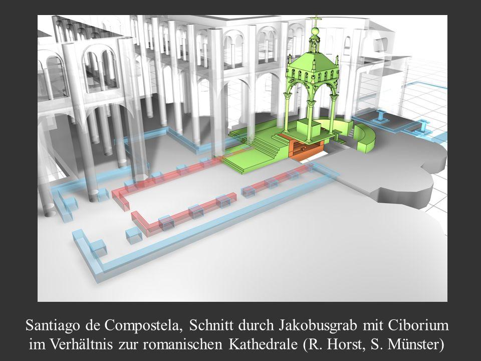 Santiago de Compostela, Schnitt durch Jakobusgrab mit Ciborium im Verhältnis zur romanischen Kathedrale (R. Horst, S. Münster)