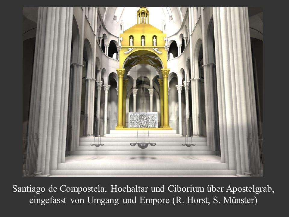 Santiago de Compostela, Hochaltar und Ciborium über Apostelgrab, eingefasst von Umgang und Empore (R. Horst, S. Münster)