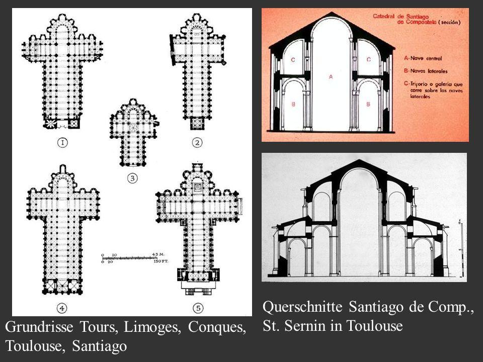 Querschnitte Santiago de Comp., St. Sernin in Toulouse Grundrisse Tours, Limoges, Conques, Toulouse, Santiago