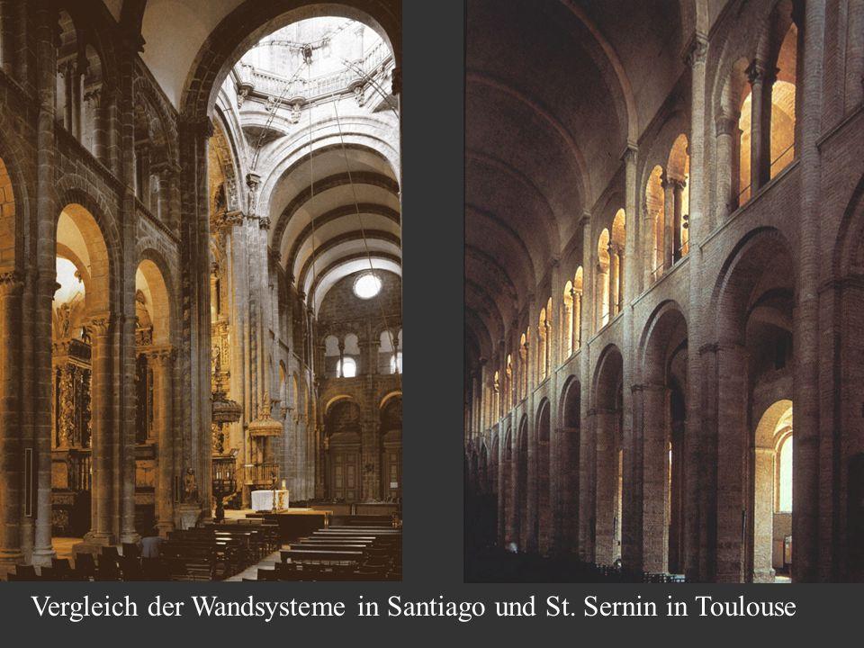 Vergleich der Wandsysteme in Santiago und St. Sernin in Toulouse
