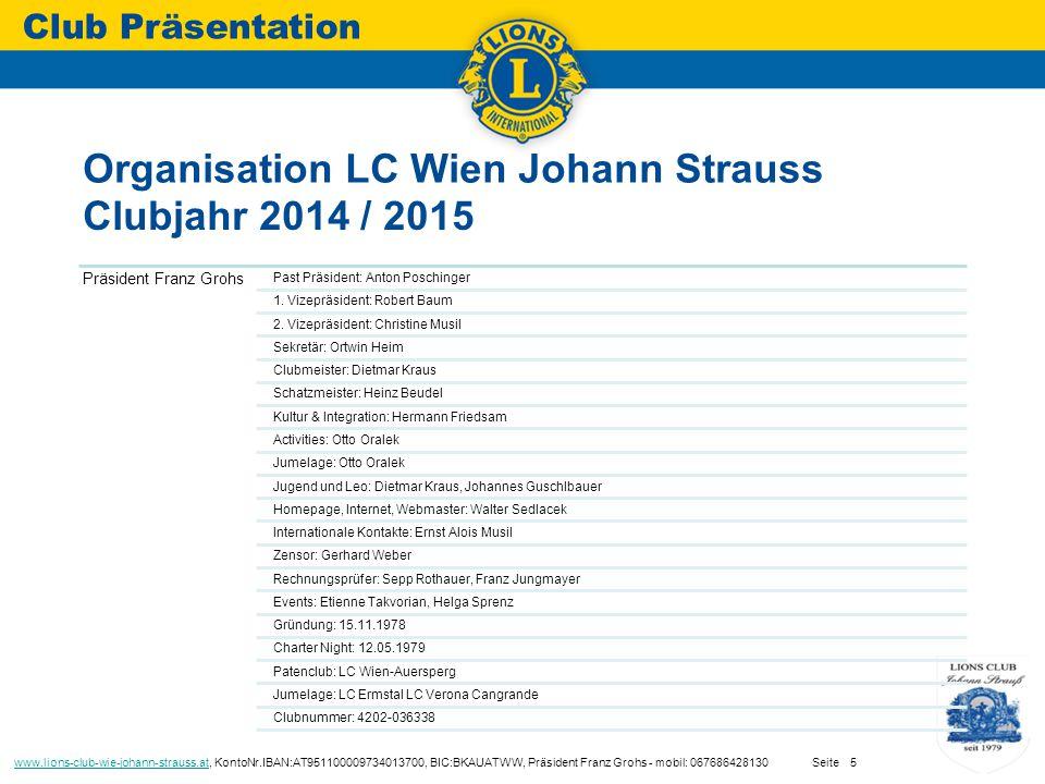 Organisation LC Wien Johann Strauss Club Präsentation www.lions-club-wie-johann-strauss.atwww.lions-club-wie-johann-strauss.at, KontoNr.IBAN:AT951100009734013700, BIC:BKAUATWW, Präsident Franz Grohs - mobil: 067686428130 Seite5 Präsident Franz Grohs Past Präsident: Anton Poschinger 1.