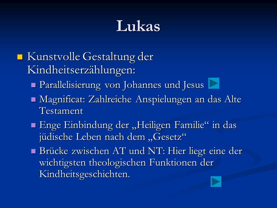 Lukas Kunstvolle Gestaltung der Kindheitserzählungen: Kunstvolle Gestaltung der Kindheitserzählungen: Parallelisierung von Johannes und Jesus Parallel