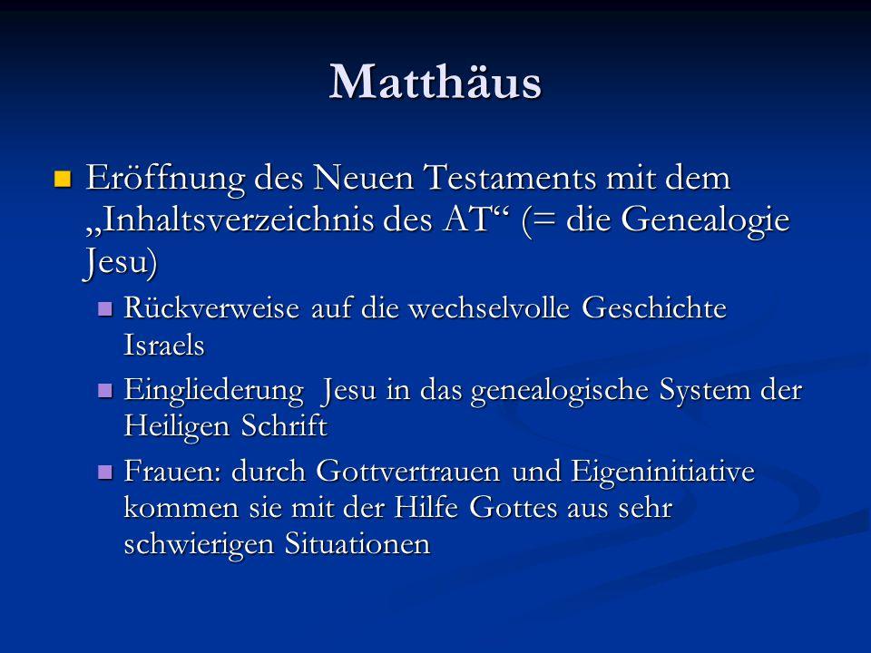 """Matthäus Eröffnung des Neuen Testaments mit dem """"Inhaltsverzeichnis des AT"""" (= die Genealogie Jesu) Eröffnung des Neuen Testaments mit dem """"Inhaltsver"""