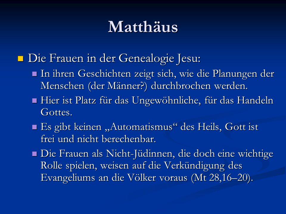 """Matthäus Die Geburt Jesu Die Geburt Jesu Auffälliges Abweichen der Begrifflichkeit: Auffälliges Abweichen der Begrifflichkeit: Genealogie: X """"zeugte (egennesen - Aktiv) Y Genealogie: X """"zeugte (egennesen - Aktiv) Y Bei Jesus: Josef, der Mann Marias, aus ihr """"wurde Jesus geboren (ex hes egennethe – Passivum divinum) Bei Jesus: Josef, der Mann Marias, aus ihr """"wurde Jesus geboren (ex hes egennethe – Passivum divinum) Name: """"Jesus (JHWH rettet) Name: """"Jesus (JHWH rettet) Name: """"Immanuel (Gott mit uns) Name: """"Immanuel (Gott mit uns) Mt 28,20: Jesus sagt: """"Ich bin bei euch alle Tage… Mt 28,20: Jesus sagt: """"Ich bin bei euch alle Tage…"""