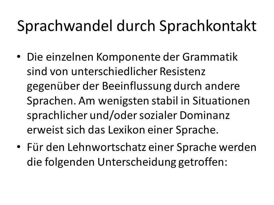 Sprachwandel durch Sprachkontakt Die einzelnen Komponente der Grammatik sind von unterschiedlicher Resistenz gegenüber der Beeinflussung durch andere
