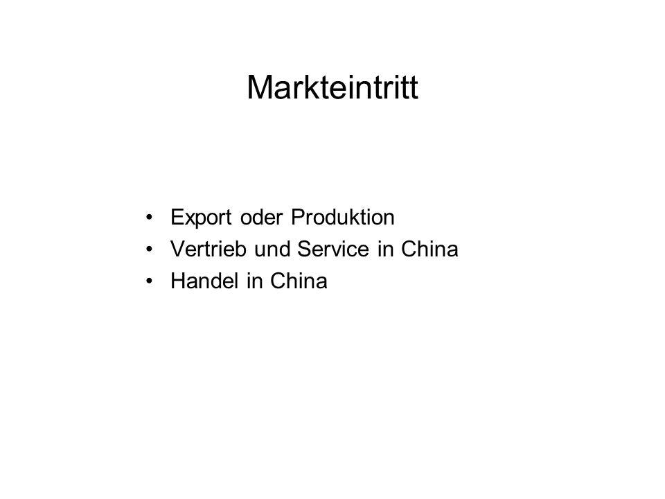 Vor- und Nachteile der Produktion in China Produktion in China kann als Plattform für die Bedienung umliegender asiatischer Länder genutzt werden Nutzung von Produktionskostenvorteilen (niedrige Lohnkosten, günstiger Einkauf) Ausländisch- investierte Unternehmen genießen Steuervorteile in China.