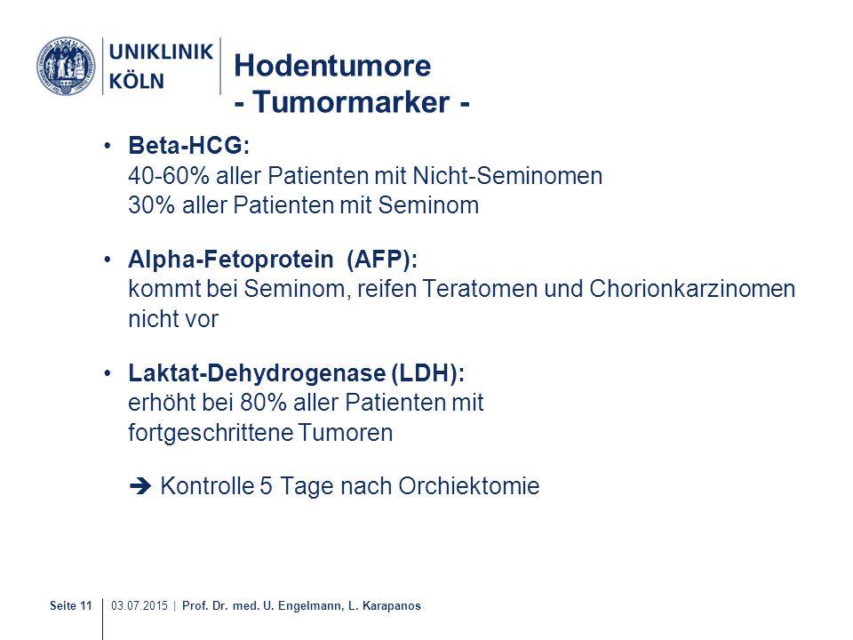 Seite 11 03.07.2015 | Prof. Dr. med. U. Engelmann, L. Karapanos Hodentumore - Tumormarker - Beta-HCG: 40-60% aller Patienten mit Nicht-Seminomen 30% a
