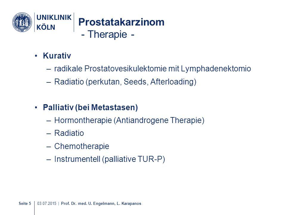 Seite 5 03.07.2015 | Prof. Dr. med. U. Engelmann, L. Karapanos Prostatakarzinom - Therapie - Kurativ –radikale Prostatovesikulektomie mit Lymphadenekt