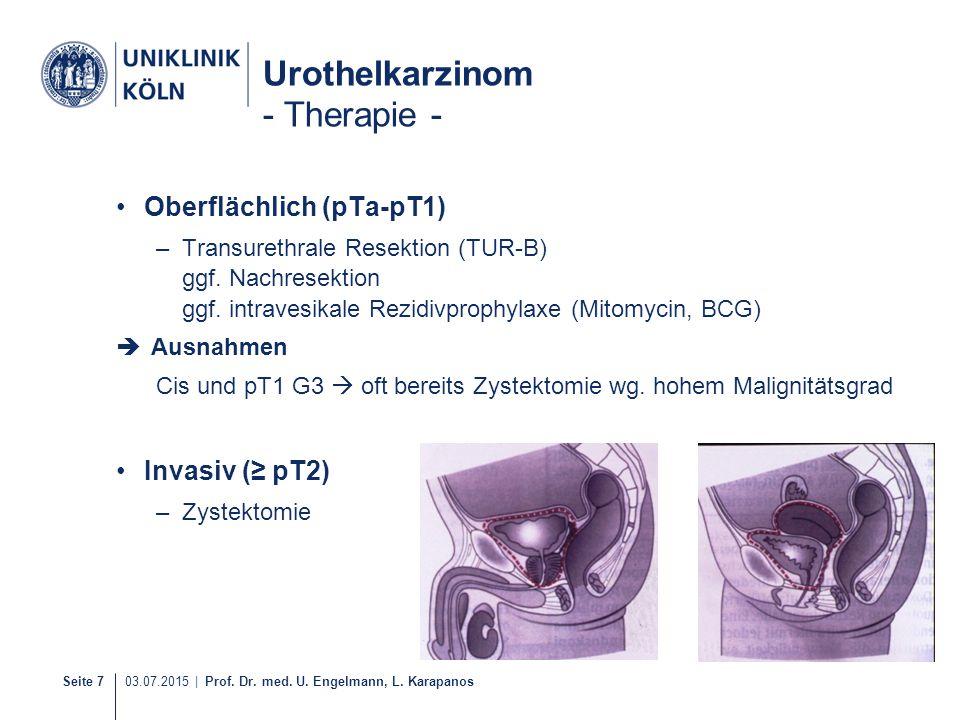 Seite 7 03.07.2015 | Prof. Dr. med. U. Engelmann, L. Karapanos Urothelkarzinom - Therapie - Oberflächlich (pTa-pT1) –Transurethrale Resektion (TUR-B)
