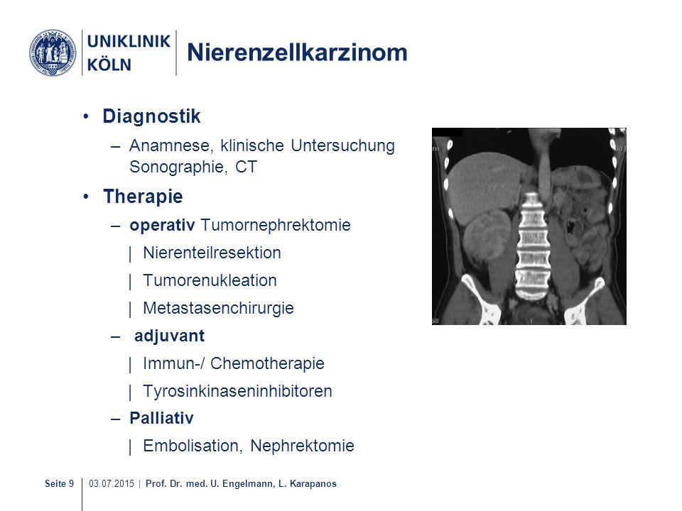 Seite 9 03.07.2015 | Prof. Dr. med. U. Engelmann, L. Karapanos Nierenzellkarzinom Diagnostik –Anamnese, klinische Untersuchung Sonographie, CT Therapi