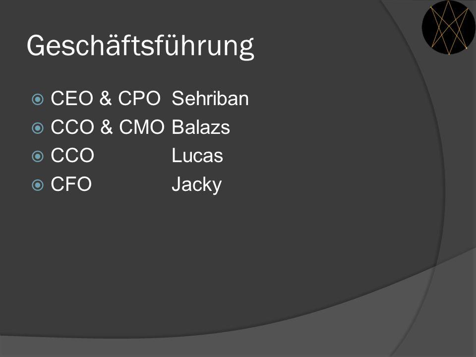 Geschäftsführung  CEO & CPO Sehriban  CCO & CMO Balazs  CCO Lucas  CFOJacky