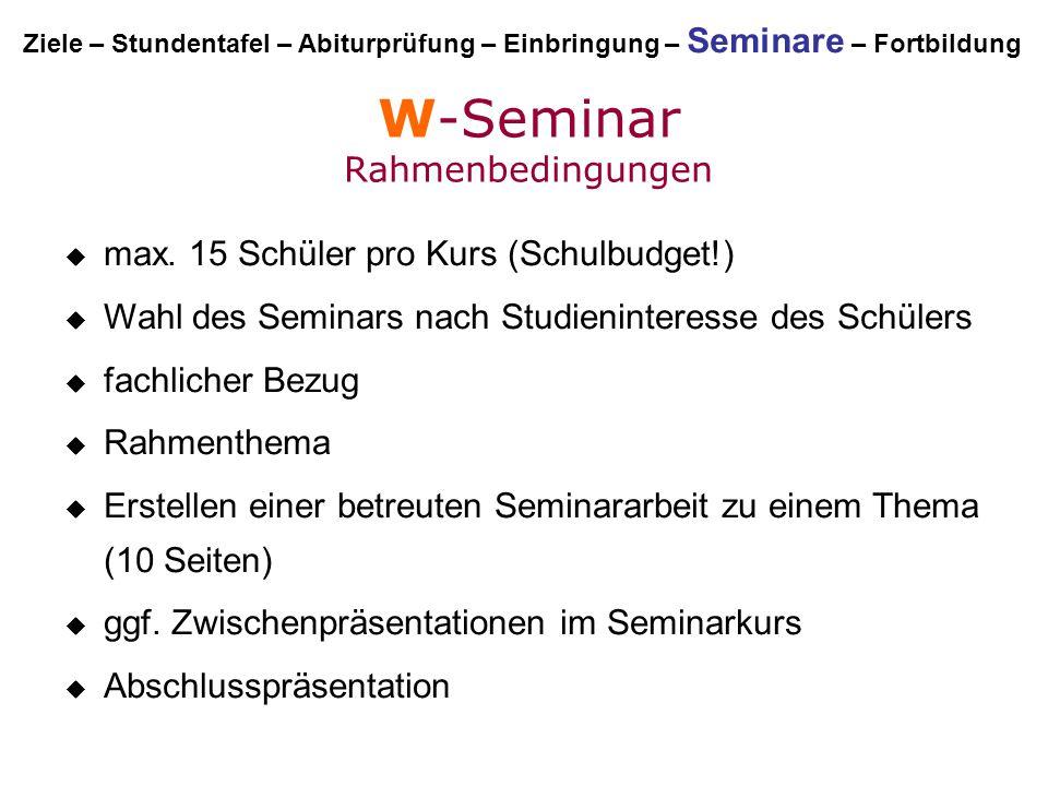 W-Seminar Rahmenbedingungen mmax. 15 Schüler pro Kurs (Schulbudget!) WWahl des Seminars nach Studieninteresse des Schülers ffachlicher Bezug R