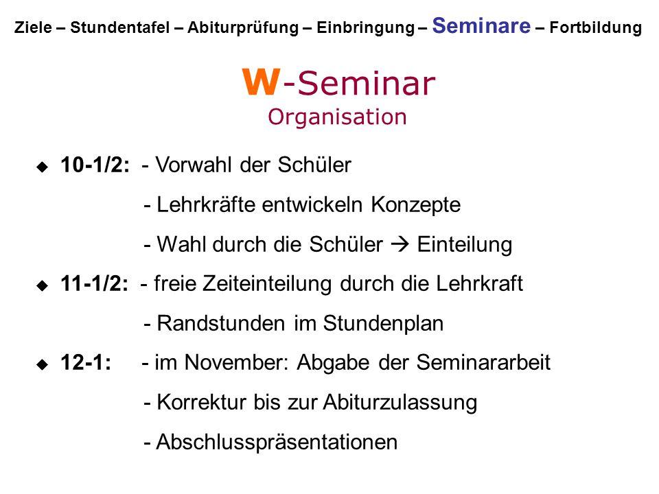 W -Seminar Organisation  10-1/2: - Vorwahl der Schüler - Lehrkräfte entwickeln Konzepte - Wahl durch die Schüler  Einteilung  11-1/2: - freie Zeite