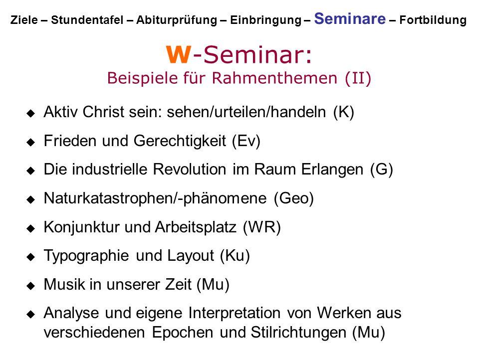 W-Seminar: Beispiele für Rahmenthemen (II)  Aktiv Christ sein: sehen/urteilen/handeln (K)  Frieden und Gerechtigkeit (Ev)  Die industrielle Revolut