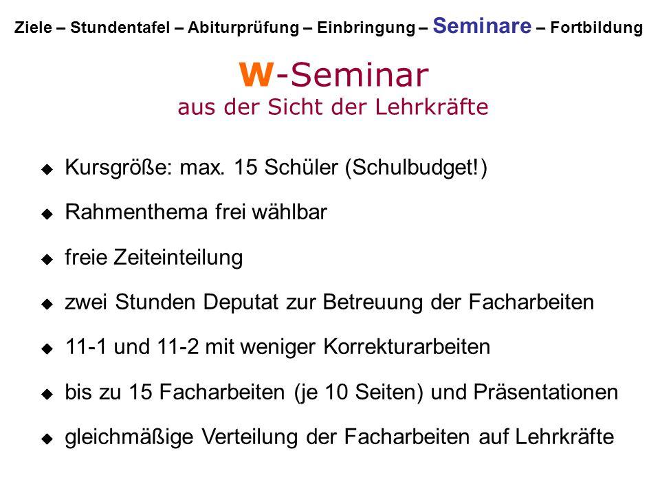 W-Seminar aus der Sicht der Lehrkräfte  Kursgröße: max. 15 Schüler (Schulbudget!)  Rahmenthema frei wählbar  freie Zeiteinteilung  zwei Stunden De