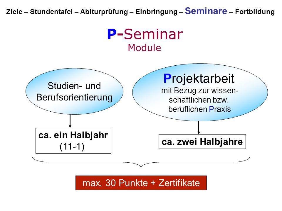 P-Seminar Module Studien- und Berufsorientierung Projektarbeit mit Bezug zur wissen- schaftlichen bzw. beruflichen Praxis ca. ein Halbjahr (11-1) ca.