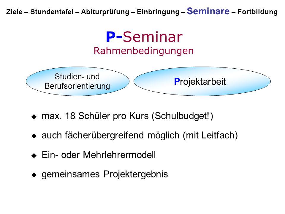 P-Seminar Rahmenbedingungen Studien- und Berufsorientierung Projektarbeit  max. 18 Schüler pro Kurs (Schulbudget!)  auch fächerübergreifend möglich