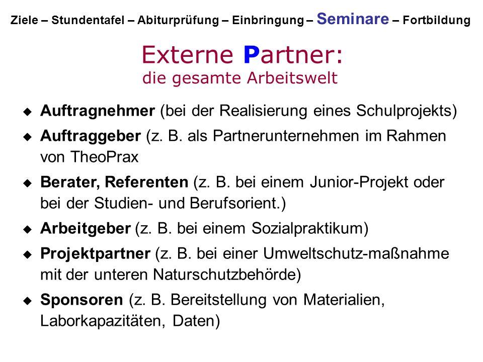 Externe Partner:  Auftragnehmer (bei der Realisierung eines Schulprojekts)  Auftraggeber (z. B. als Partnerunternehmen im Rahmen von TheoPrax  Bera