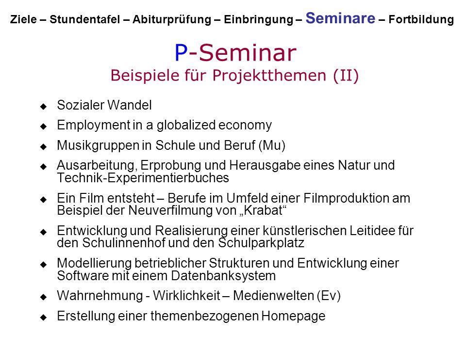 P-Seminar Beispiele für Projektthemen (II)  Sozialer Wandel  Employment in a globalized economy  Musikgruppen in Schule und Beruf (Mu)  Ausarbeitu
